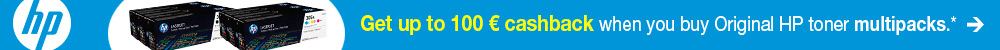 Get up to 100 € cashback when you buy Original HP toner multipacks.*