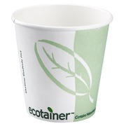 Gobelet carton compostable blanc-vert 24 cl - Lot de 50