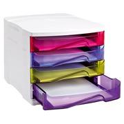 Module de classement Cep Happy coffre gris clair 4 tiroirs multicolores