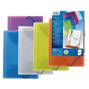 Personalizable transparent folder with 3 flaps A4 Elba - blue