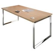 Rechte werkpost B 180 x D 90 cm bovenblad in ebbenhout onderstel verchroomde staal Shiny