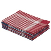 Küchenhandtuch 100% Baumwolle - Packung von 6 (3 blau und 3 rot)
