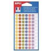 Pack of 385 coloured round labels Agipa 102147 assorted pastel colors, Ø 8 mm