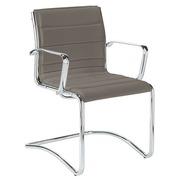 Bezoekersstoel Milano leder grijs - Rug H 40 cm