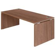 Rechte werkpost Shiny B 180 x D 90 werkblad notelaar met vol onderstel in hout
