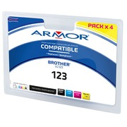 Pack cartridges Armor compatible Brother LC123 4 colors for inkjet printer
