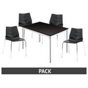 Pack Klass One zwart - 1 rechthoekige tafel + 4 stoelen