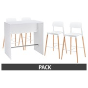 Pack Illo - 1 table 4 pers. blanche + 4 tabourets Orea