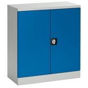 Schrank mit Klapptüren Union H 100 cm Gehäuse in grau Türen in blau