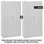 Pack armoires à rideaux Bruneau H 200 cm gris/aluminium - 1 achetée = 1 offerte de même coloris