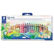 Staedtler crayon Buddy 3-en-1, boîte de 18 pièces en couleurs assorties