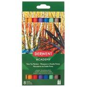 Derwent feutres twin tip Academy, pointe normale/brush, blister de 8 pièces en couleurs assorties
