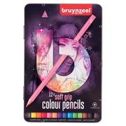 Bruynzeel crayons de couleurs Soft Grip, boîte de 12 couleurs assorties