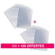 Pack 100 perforated sleeves Bruneau A4 smooth polypropylene 9/100e + 100 for free