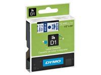 Lint polyester Dymo D1 S0720540 12 mm wit met blauwe tekst