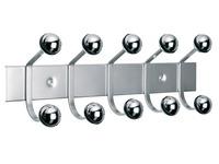 Wall hanger, 5 double hooks, aluminium