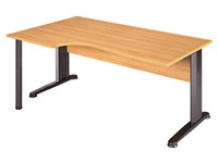 Compact desk, alder top, metallic legs, left angle