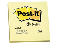 Herplaatsbare gele notes gerecycleerd Post-it 76 x 76 mm - blok van 100 blaadjes