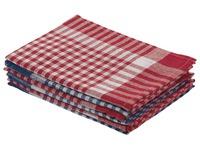 Torchon 100 % coton - Paquet de 6 (3 bleus et 3 rouges)