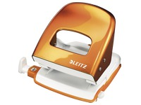 Office perforator 2 holes Wow Leitz - capacity 30 sheets - orange
