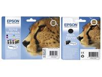 Epson big pack T0711 + T0715 1 black cartridge + 1 multipack black + color high capacity for inkjet printer