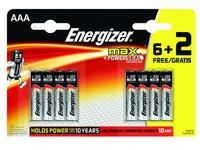 Blisterpackung von 6 Batterien + 2 gratis LR3 Energizer Max