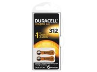 Blister van 6 batterijen Duracell voor hoorapparaat type 312