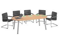 Meeting table Congress oval W 210 cm plate beech base metal aluminium