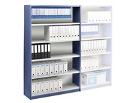 Versatile shelving basic element 200x120 cm grey/blue metal back panel