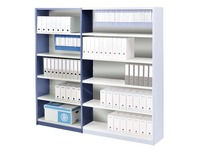 Versatile shelving basic element 200x90 cm grey/blue metal back panel