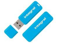 Pack of 1 + 1 USB key Integral Neon 16 GB blue