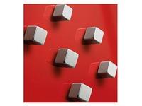 Krachtige magneten vierkantig kleur zilver - set van 6